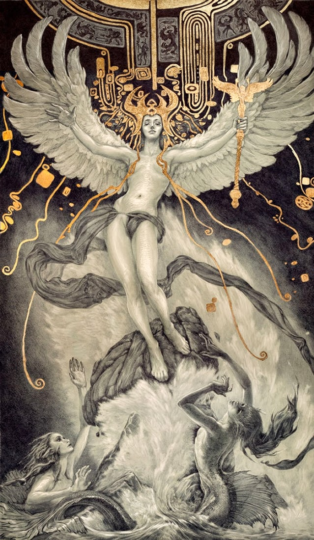 01-Ascent-Rebecca-Yanovskaya-Ballpoint-Pen-and-Gold-Leaf-Drawings-www-designstack-co