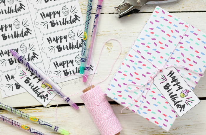 "Free Printable ""Happy Birthday"" Gift Tags--You can color these! www.pitterandglink.com"