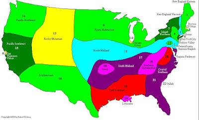 mapa que muestra las zonas de los dialectos de inglés