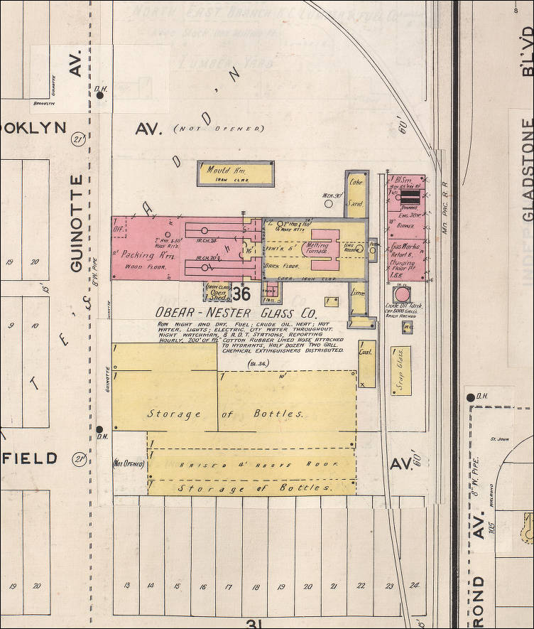 Obear nester glass company trademarks manufacturers figure 1 1896 blueprints to the obear nester plant in kc malvernweather Choice Image