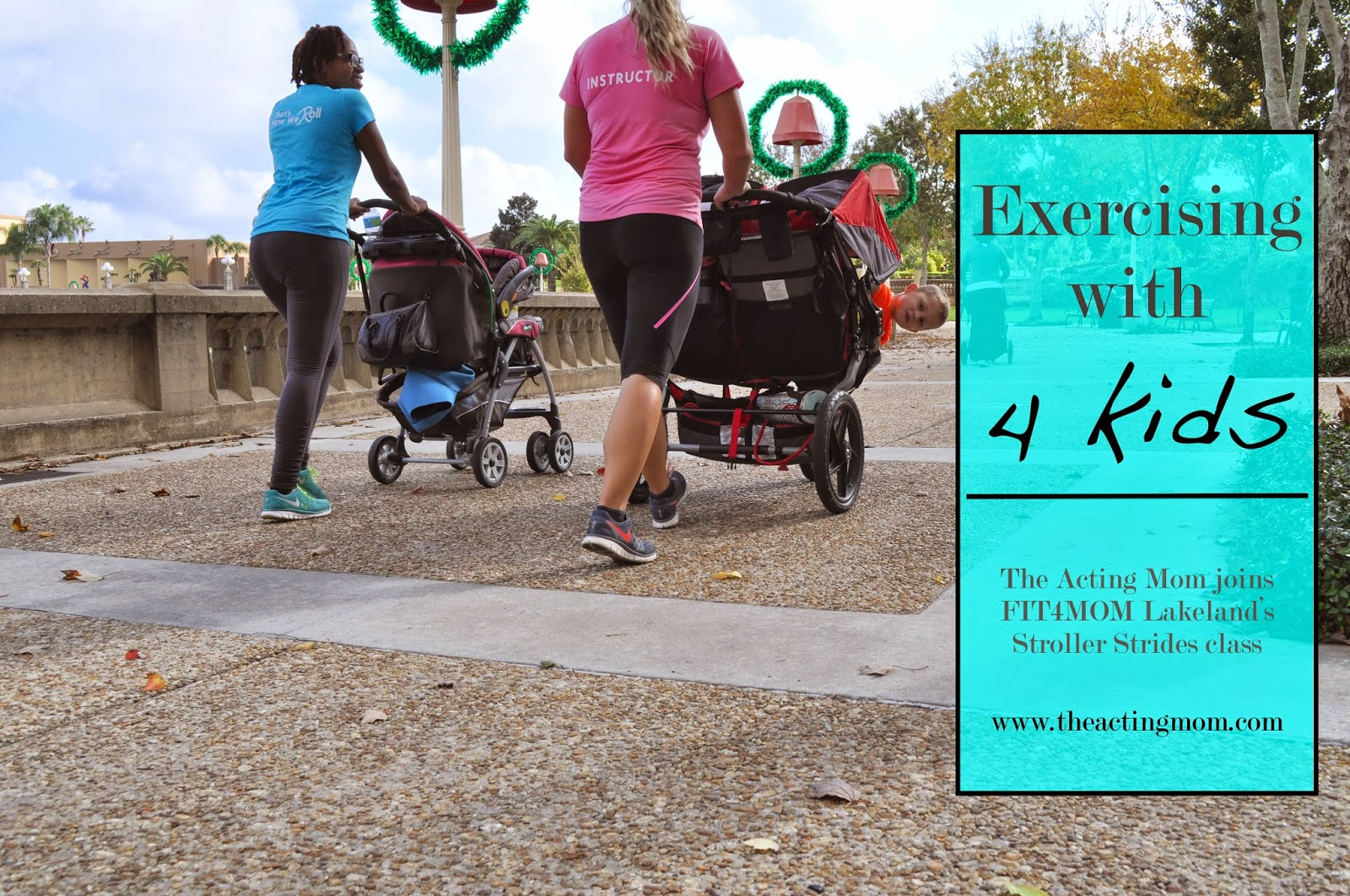 Exercising with FIT4MOM Lakeland's Stroller Stride class