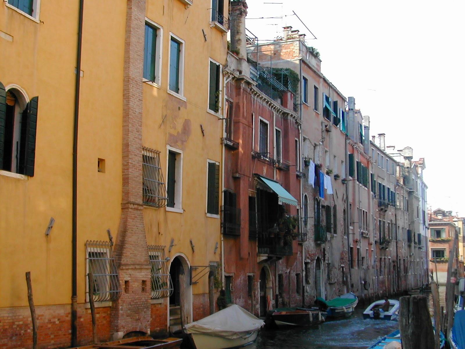 venice, canal, houses, gondolas