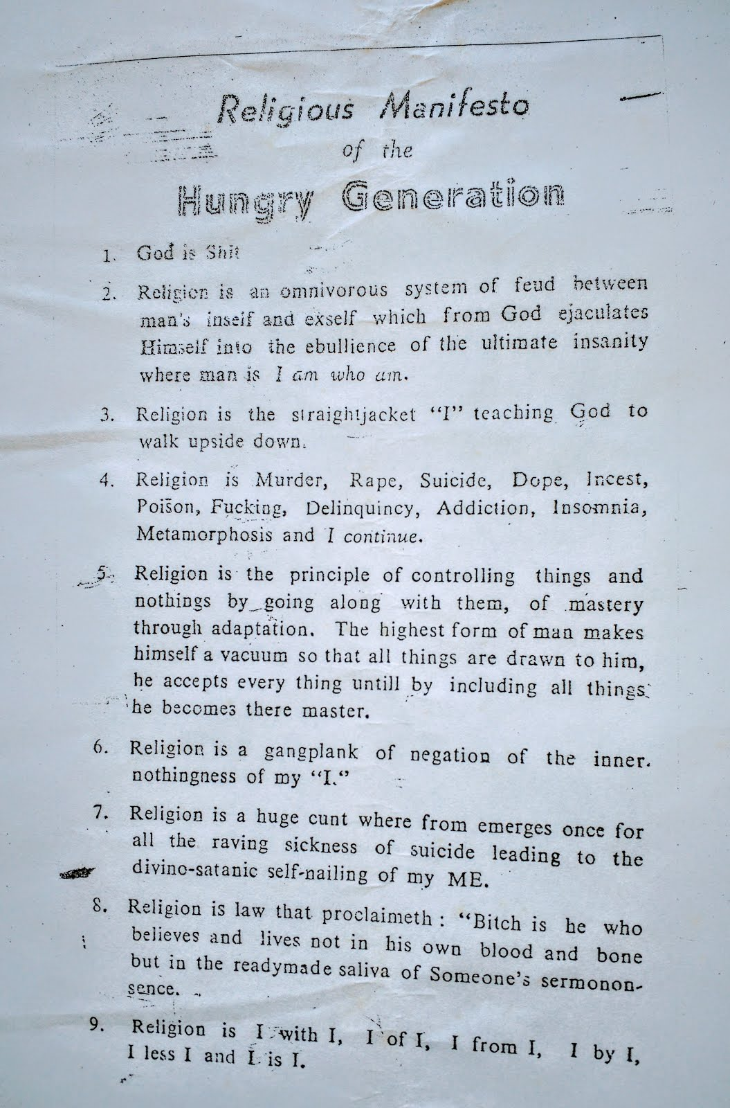 Hungryalist bulletin published in 1963