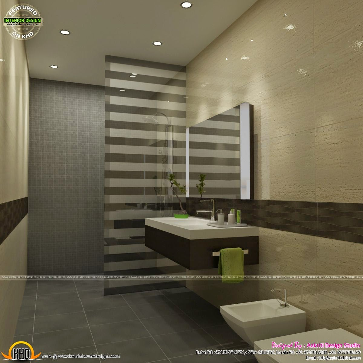 Awesome interiors of living kitchen and bathroom kerala for Bathroom designs in kerala