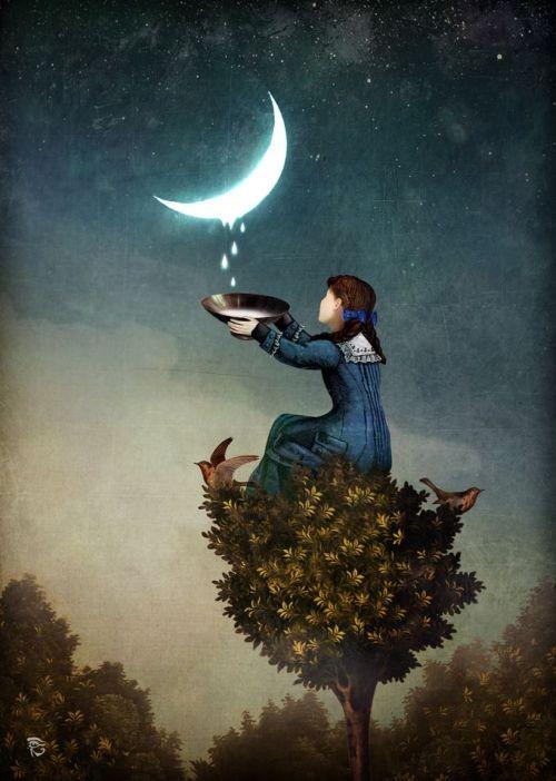 Christian Schloe ilustração digital surreal onírica sonhos Gotas de lua