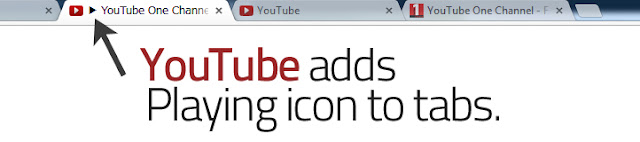 Youtube adds playing icon to tabs