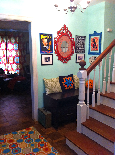 Cottage Home: A Bright, Vintage Filled Foyer with Bursts of Color on BinkysNest.com