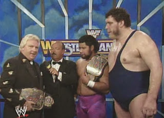 WWF / WWE: Wrestlemania 6 - The Colossal Connection (Andre The Giant and Haku w/ Bobby Heenan) are interviewed by Mean Gene Okerlund