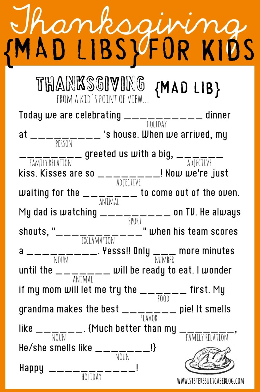 Thanksgiving Mad Libs Printable My Sisters Suitcase Packed – Mad Lib Worksheets