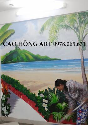 vẽ tranh tường phong cảnh,vẽ tranh tường 3d