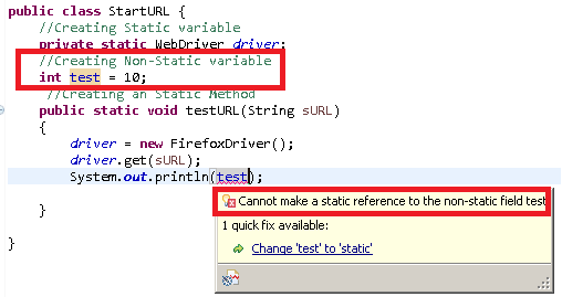 Cannot Access non static variable inside a static method of java