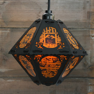 Halloween Lantern vintage style spooky design with new images by Robert Aaron Wiley for Bindlegrim