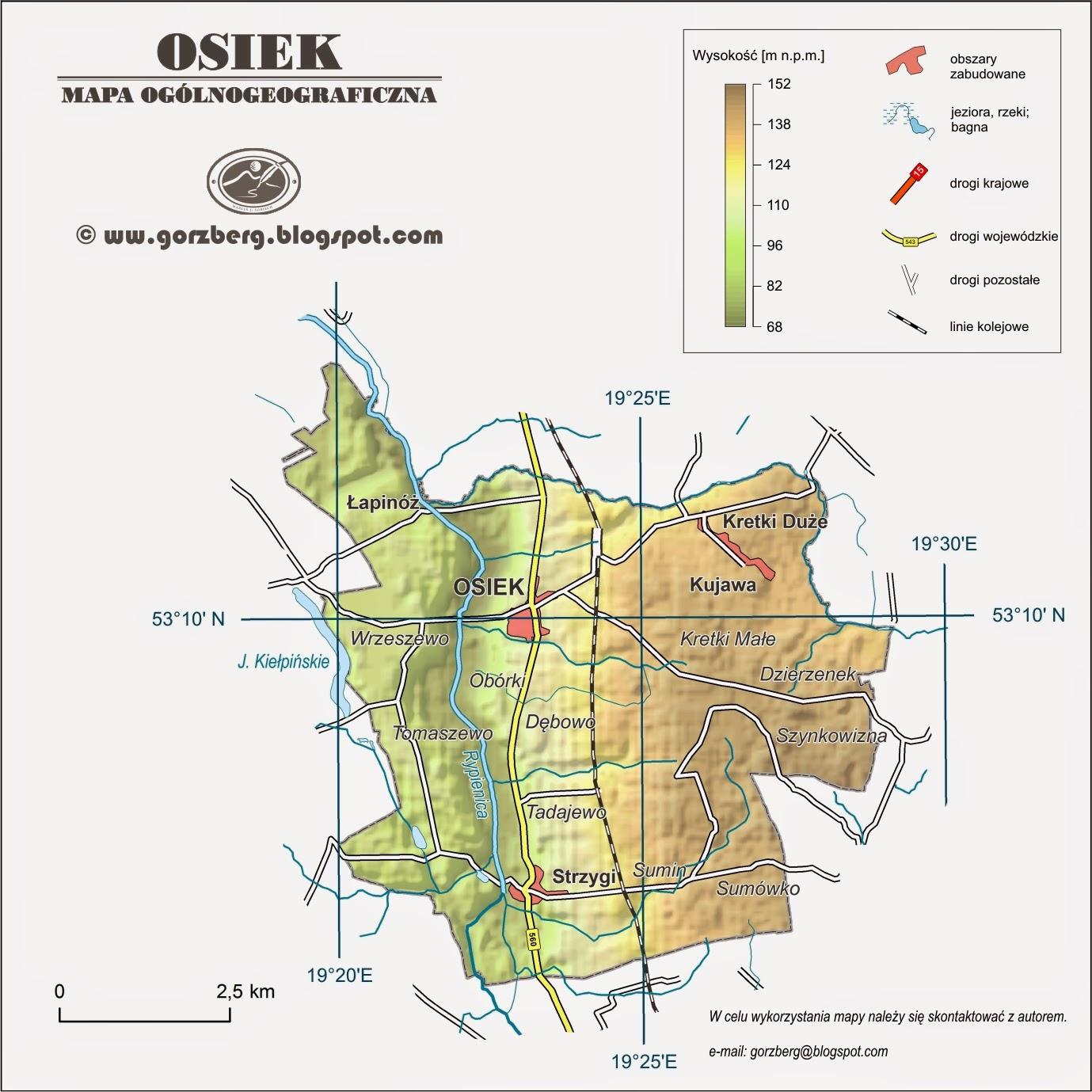Mapa ogólnogeograficzna gminy Osiek