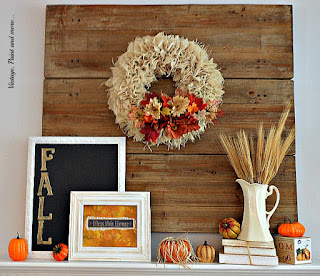 Vintage, Paint and more... Fall mantel done with diy burlpa wreath, chalkboard sign, scrapbook sign and vintage pitcher
