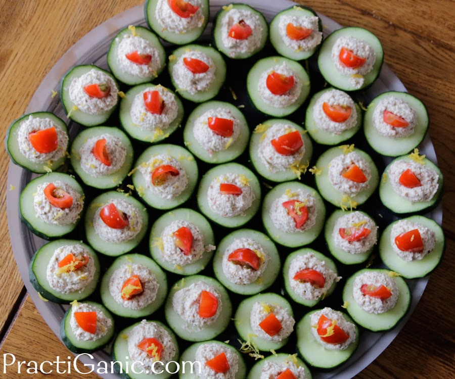 Raw Cream Cheese Cucumber Bites