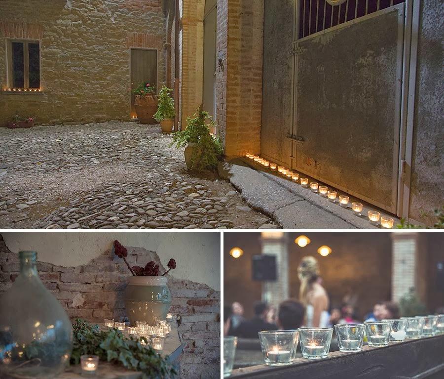 Matrimonio in agriturismo, decorazioni con candele