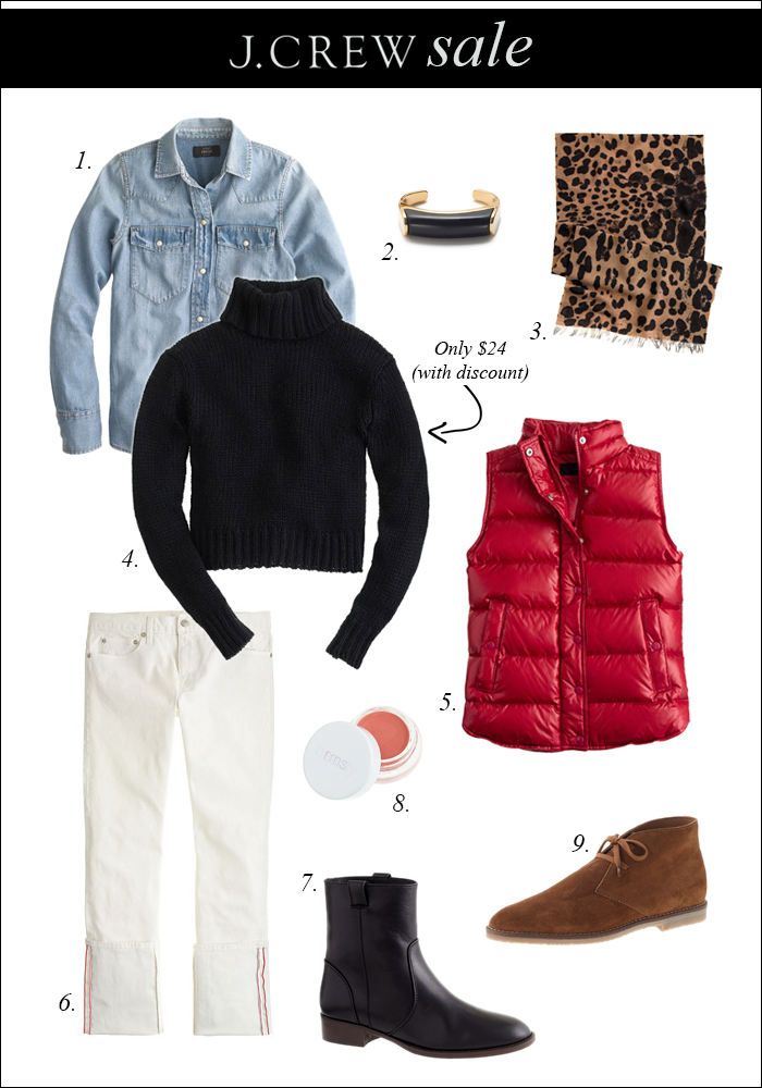 j crew, after christmas sale, red puffer vest, chunky sweaer, leopard scarf, ankle booties, white denim