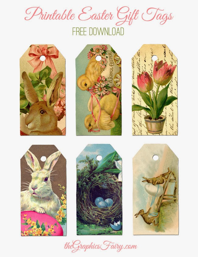 Free Printable Easter Gift Tags ~ by The Graphics Fairy