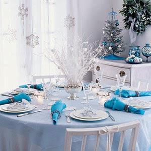 Decoracion de Mesas Navideñas Color Azul, parte 1