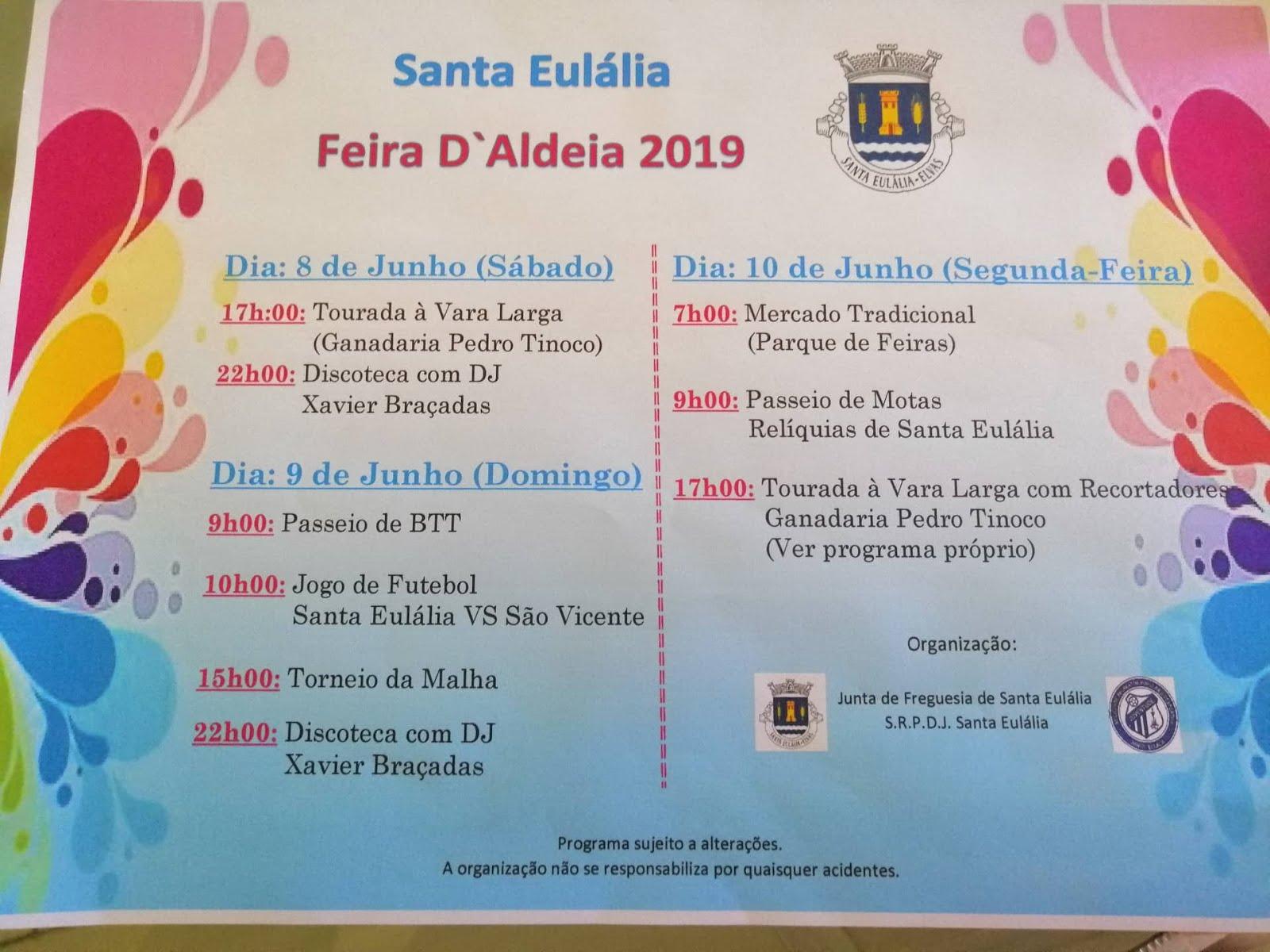 FEIRA D'ALDEIA 2019 - SANTA EULÁLIA - 08 A 10 DE JUNHO DE 2019.
