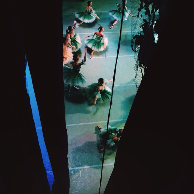 view of russian ballerinas on stage from above
