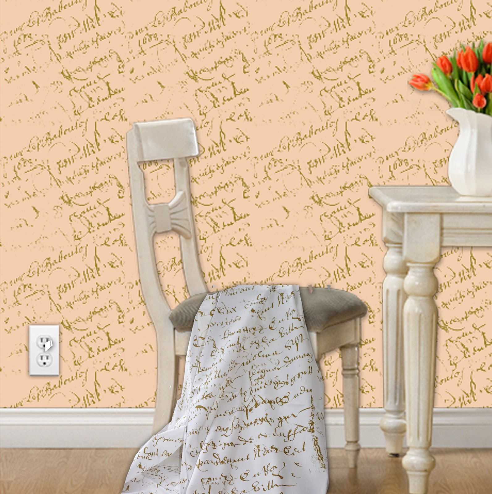 French Script Fabrics: Fabric, Wallpaper and Wall Art Decals
