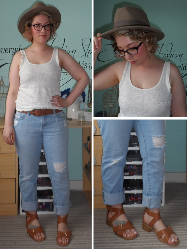 Topshop Cream Vest Top; New Look Boyfriend Jeans; ASOS Fedora; New Look Sandals