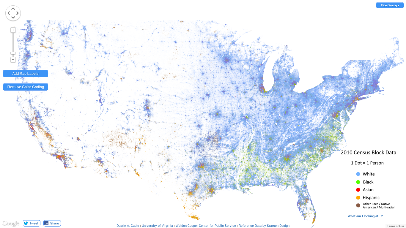 GeneaMusings The Interactive Racial Dot Map Of The United States - Interactive us map color states