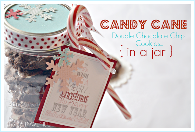 Candy Cane Mint Cookie Recipe the36thavenue.com Bake them and get the Free Printable to give them as gifts.