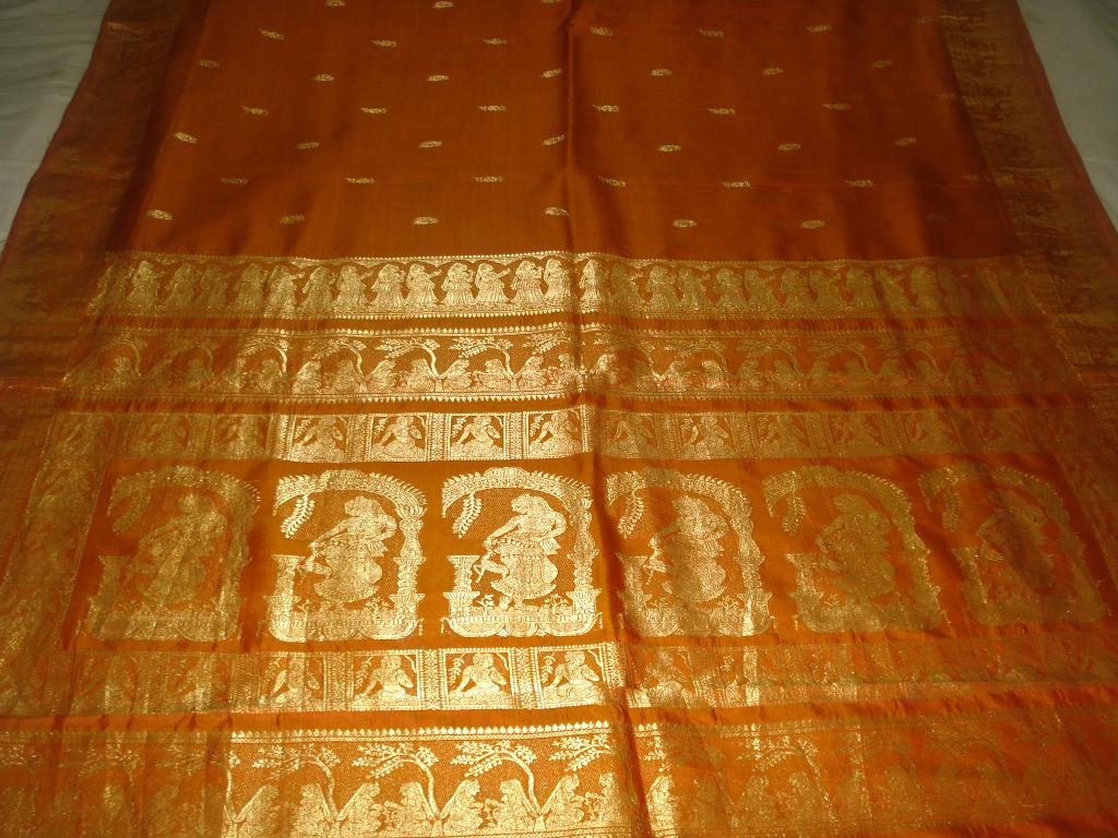 Baluchari Saree with Dancing Lady