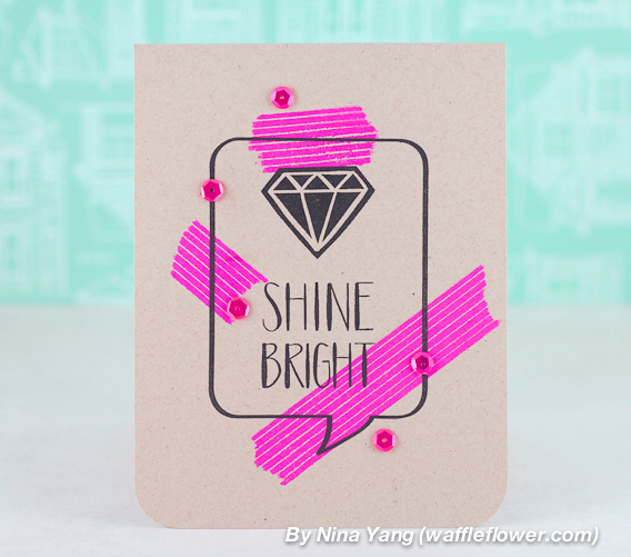 N&T - Faux Washi Look - Shine Bright Card