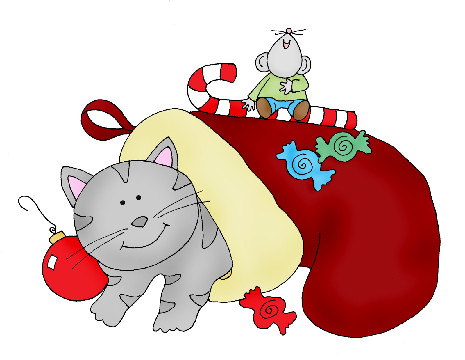free dearie dolls digi stamps cat in a christmas stocking