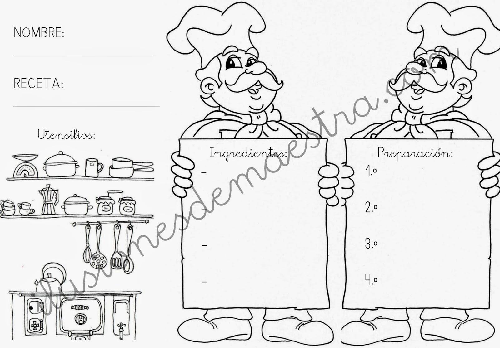 Ilusiones de maestra plantilla para receta infantil for Plantillas de cocina