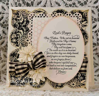Our Daily Bread Designs, Lord's Prayer Script, Honey comb background, Layered lacey squares, designed by Stacy Sheldon, JBgreendawn