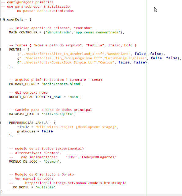 1ª definição do código de configuração