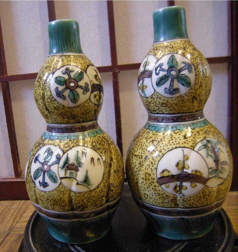 Japanese Edo period Matsuyama Gama Ao-de Kutani Double Gourds 松山窯