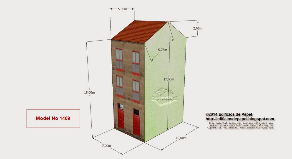 """Edificios de Papel - Model no 1409 Edificio Granito 4. Subserie """"Granito"""", serie """"Ourense."""