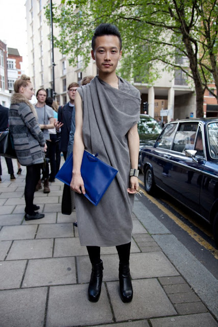 street style london collections men menswear draped top clutch