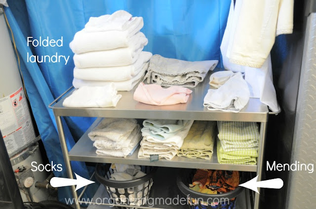 Use cart in laundry room to fold laundry :: OrganizingMadeFun.com