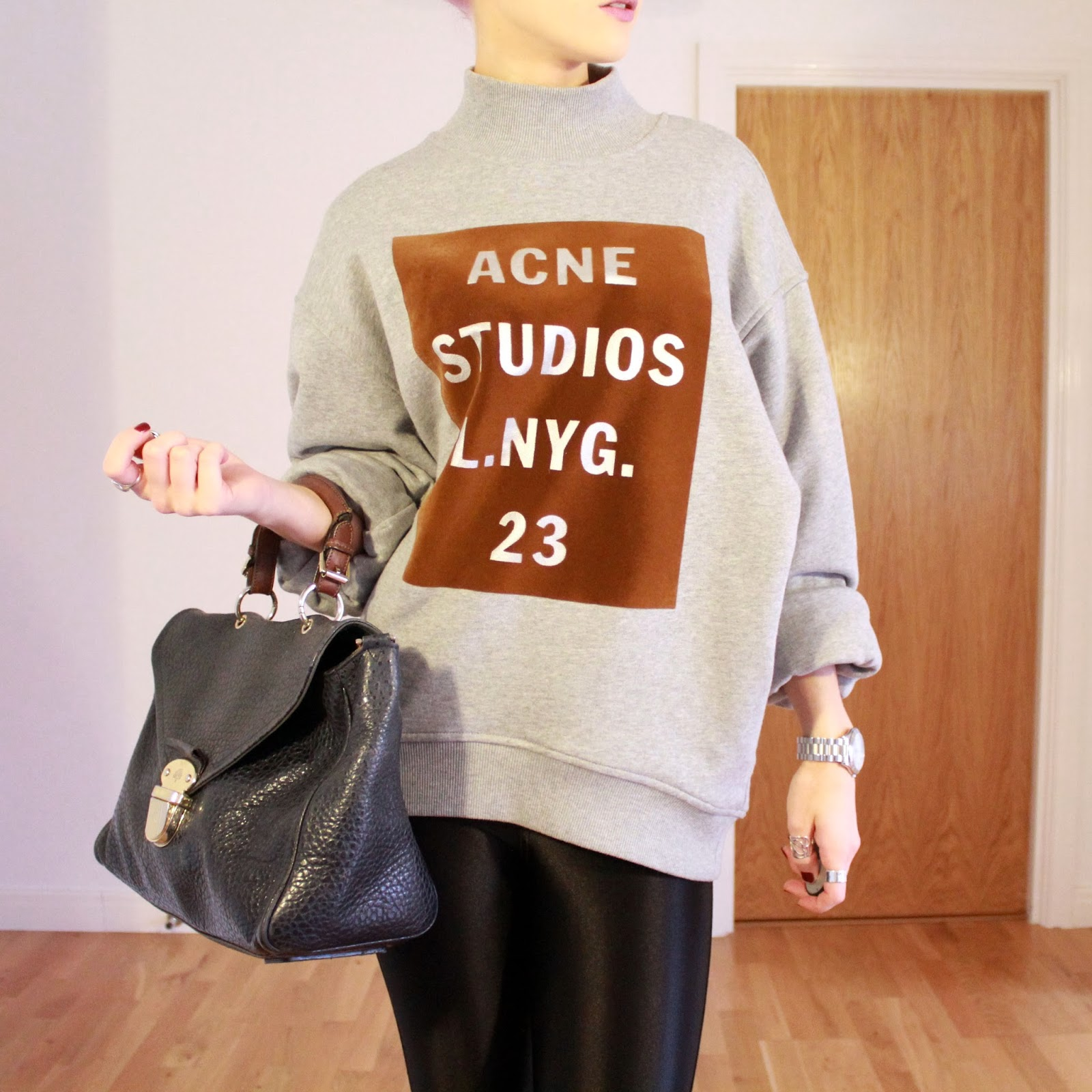 Acne Beta Double Melange Sweat in Grey