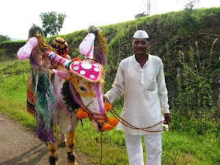 Another local farmer with his decorated Bullock