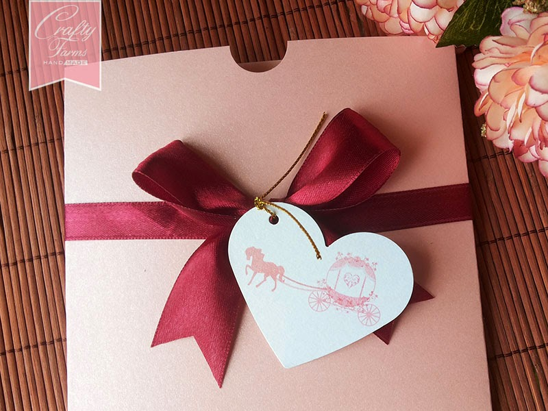 Malaysia Horse Carriage Square Pocket Wedding Card with Personalized Hanged Tag