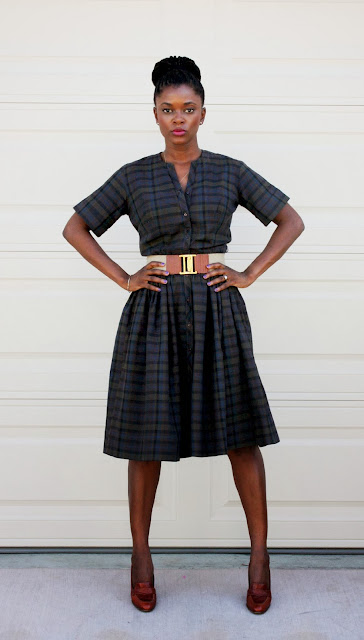 vintage plaid dress worn with thrifted belt and shoes