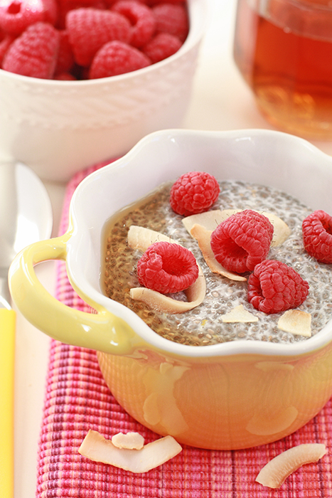 coconut raspberry chia-seed pudding