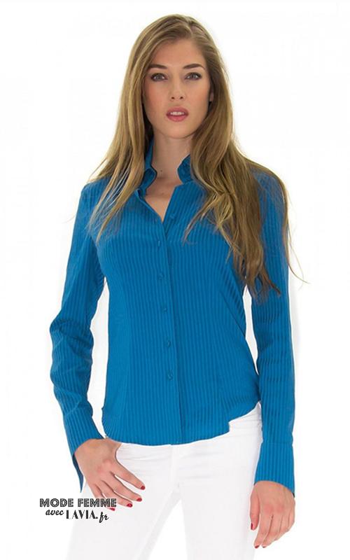 Chemise près du corps denim turquoise à rayures