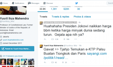 Yusril Tertawa Jokowi Naikkan Harga BBM