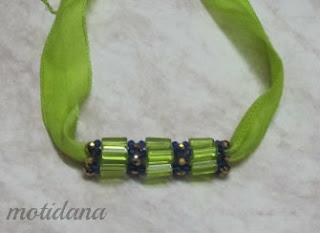 beaded bead silk ribbon necklace