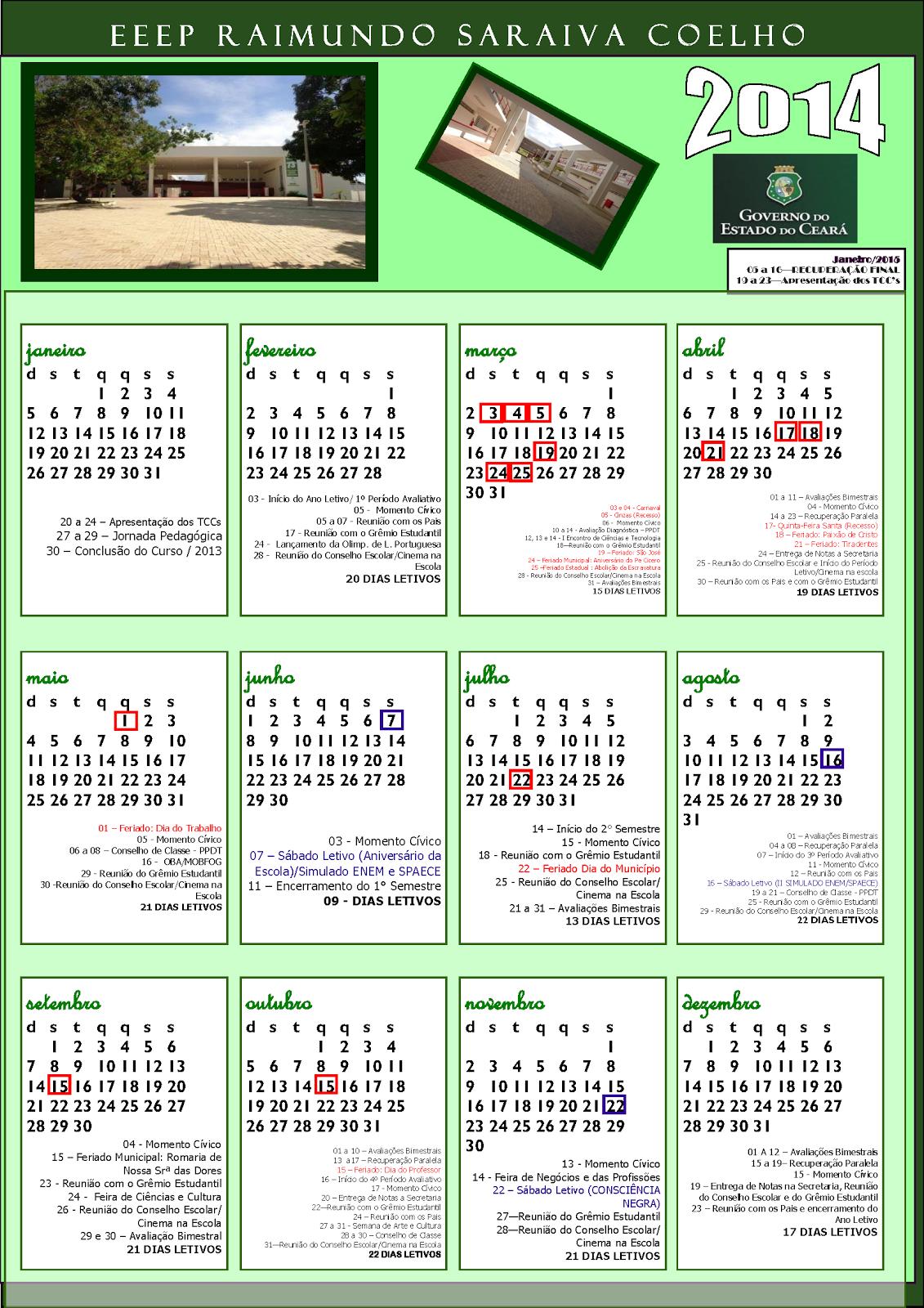 Calendario Letivo 2014