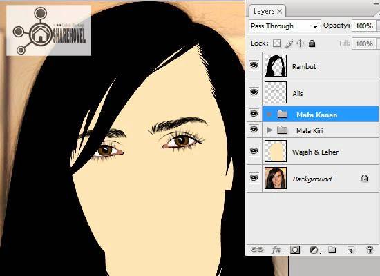hasil dari membuat vector mata menggunakan photoshop - tutorial membuat vector di photoshop - membuat foto menjadi kartun dengan photoshop