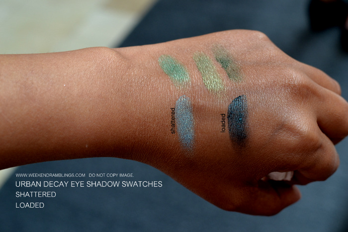 Urban Decay Makeup Eye Shadow Swatches Loaded Shattered Indian Beauty Blog